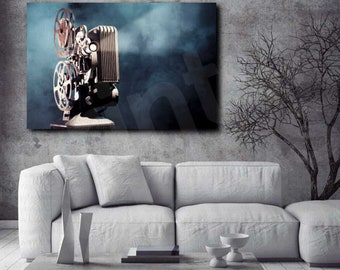 Old Movie Projector Art Canvas Poster Print Home Wall Decor