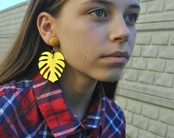 Monstera Bonbon Earrings, turquoise,golden, green Les Bon bons clip on,Monstera Leaf  Earrings,Bonbons earrings,gift for her