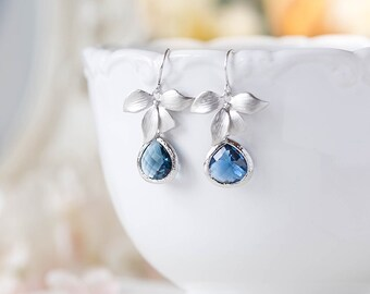 Sapphire Blue Earrings, Navy Blue Wedding Jewelry, Montana Blue Silver Bridesmaid Earrings, September Birthstone Jewelry, Gift for Her