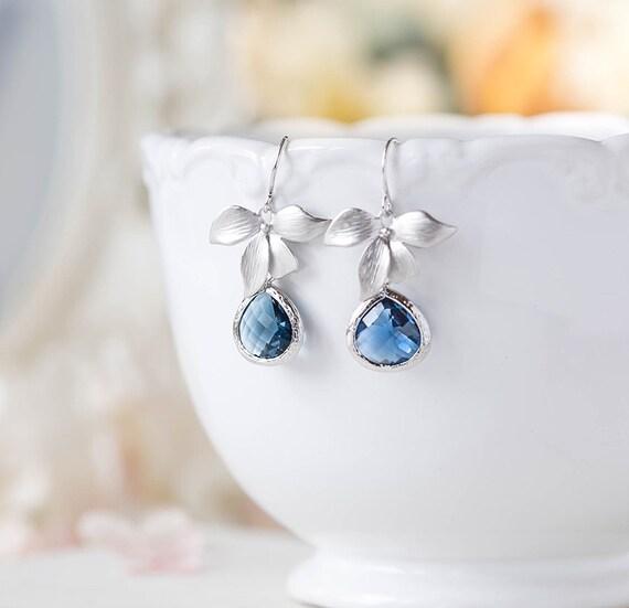 Sapphire Blue Earrings Navy Blue Wedding Jewelry Montana