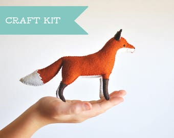 Stuffed Fox Felt Animal Kit - Stuffed Animal Sewing Kit. *Make Your Own Felt Fox * DIY Kit. Crafters Gift.