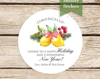 Limoncello Holiday Stickers, Custom Holiday Stickers, Christmas in July, Limoncello Labels, Merry Christmas Stickers, Limoncello Stickers