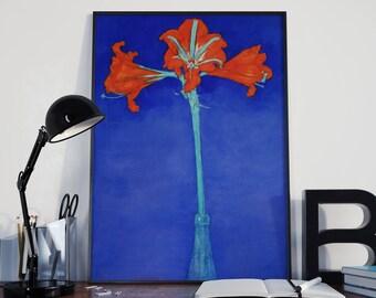 Botanical Print by Piet Modrian Red Amaryllis With Blue Background Botanical Art Botanic Poster Botanic Illustration Botanic Wall Art Plant