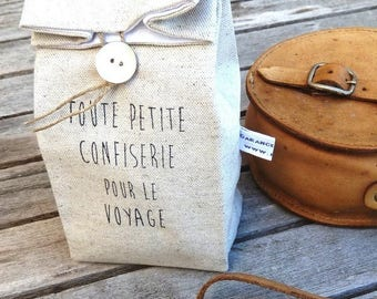 Pouch in linen and unbleached cotton for small candy print vintage travel