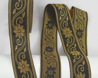 Floral WebBand, jacquard braid, double sided, ribbon, meter, 1meter, sewing