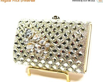 SALE SALE Crystal Bridal Clutch, Gold Lattice Crystal Bridal Clutch, Crystal Wedding Purse, Evening Clutch P 59