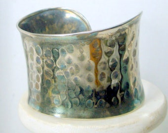 CUFF, Silver Tribal Warrior Bracelet, Metal Hammered Look Wristlet, BOHO Jewelry, 1980s USED