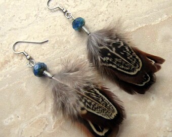 Feather Earrings - Natural Pheasant Feathers, Short Feather Earrings - Lammergeier