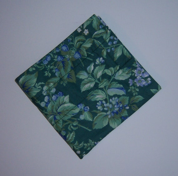 Vintage Laura Ashley Bramble Green Periwinkle Sapphire Window