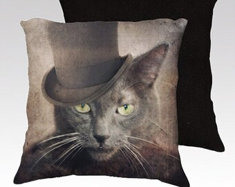 Cat Pillow Russian Grey Pillow Pillowcase Cover Decorative Throw Pillows 18x18 or 22x22 Pillow Cover - Captain Grey