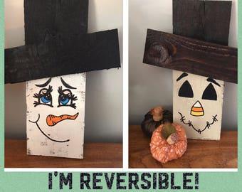 Reversible Reclaimed Pallet Wood Scarecrow/Snowman Decoration