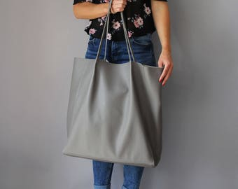 Large Tote bag, Lazy bag, leather shoulder tote, oversized tote, large school market everyday bag handbag, leather travel bag - BIJING BAG -
