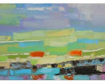 Shining valley - Impasto painting Bright artwork Intuitive art Expressive art Horizontal canvas Pastoral painting Impressionistic