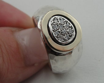 CZ Silver and Gold Ring, 925 sterling Silver and 9k Rose gold ring, white zircon  ring, Ring size 8, Wife Mom Gift, Free Shipping  (sn
