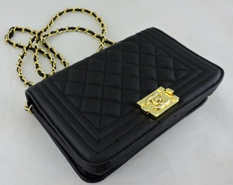 designer handbag bag boy purse crossbody gold chain chanel style