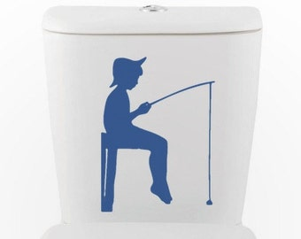 Boy Gone Fishing   Vinyl Wall Decal   Toilet, Bathroom, Interior Design