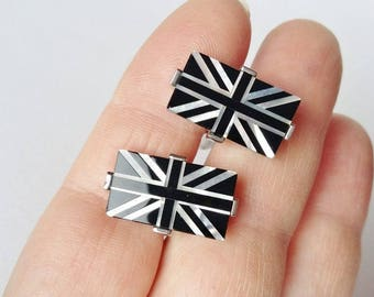 Union Jack Cufflinks Black and Abalone Mother Of Pearl Effect Rectangular Jewellery Gifts for Him