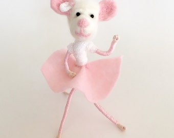 Sophie, a needle felted mouse doll with free shipping