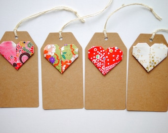 Origami heart gift tags x4
