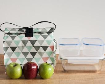 Bolsa almuerzo reutilizable. Bolsa grande impermeable. Bolsa picnic con asa. Productos cero residuo. Bolsa eco para comida