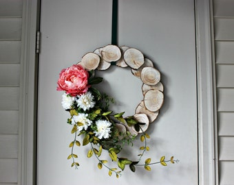 Spring Peony Wood Wreath