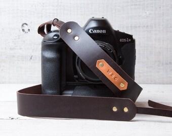 Camera strap Personalized Brown with monogram personalization Gift for photographer DSLR Strap Canon camera strap Nikon strap