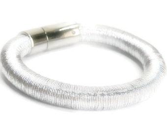 Sale  Rhodium Bangle - Rhodium Bracelet - Metal Slinky Bangle Bracelet - Simple - Magnetic Closure - Chunky - Industrial - Minimalist