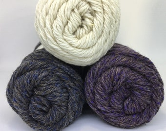 Natural Fiber Producers Essential Luxuries Alpaca Blend Yarn, DK weight, Cream, Blue, Purple