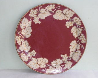 Large Vintage Red Beige Grape Leaves Round 19 Inch Metal Serving Tray
