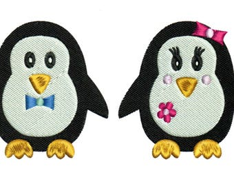 Embroidery Designs Penguins Boy and Girl Penguins
