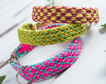 Frey Paracord Dog Collar, Dog paracord Collar, Geometric collar, Multicolored Dog Collar, Colorful Dog Collar, With Quick Release Buckle