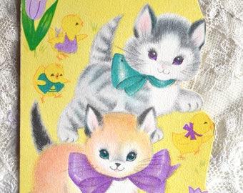 Vintage Easter Card - Glitter Kittens and Chicks to Grandma and Grandpa - Unused Rust Craft