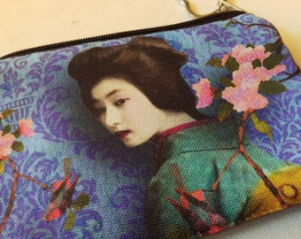 Geisha zippered coin purse