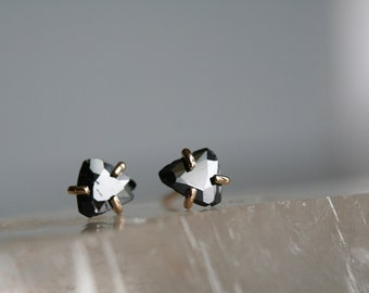 diamond slice earring, black diamond post earring, 14k gold and diamond stud earring,  Rachel Wilder Handmade Jewelry