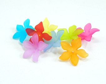 25 Pcs Frosted Acrylic Flower Beads in Mixed Colors, 28 mm