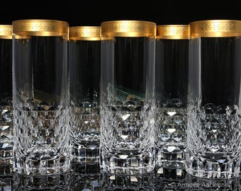 Cut Crystal Longdrink Glasses with Gold Rim, High Ball Glasses, Set of 6 / Mid Century Bar Cart Accessories