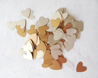 Heart Confetti Antique Gold and Gold Leaf 1 Inch