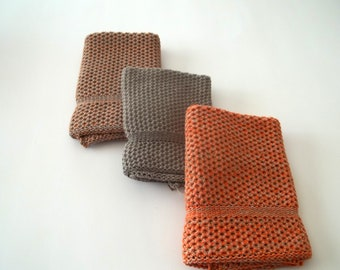 Dishcloths Knit in Cotton, Taupe, Calfskin/Orange/Sidewalk and Calfskin/Taupe, Dish cloth, Washcloth, Wash Cloth,