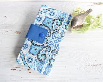 Womens wallet in blue mosaic print, Bifold womans wallet, credit card wallet, handmade wallet, checkbook wallet, slim travel wallet
