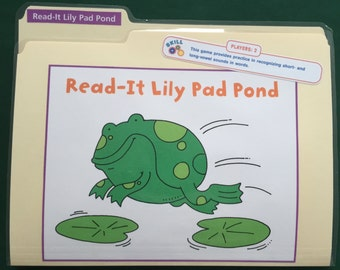Read-It Lily Pad Pond - Vowels (long and short review) - File Folder Game - Ready to play, No digital downloading!