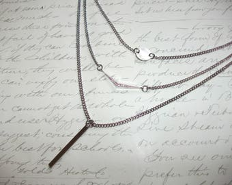 Multi layer chain stainless steel necklace