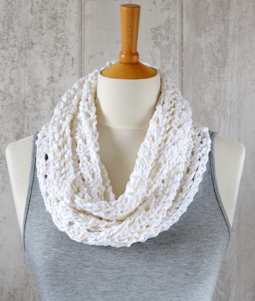 KNITTING PATTERN Lace Scarf Simple Knit Pattern Infinity Scarf