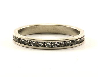 Vintage Thin Eternity Crystal Band Ring 925 Sterling RG 2356-E
