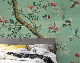 SALE Emerald Green Chinoiserie Wallpaper Self Adhesive Vintage Shabby Branch Birds Removable Wall Mural Dark Blossoms