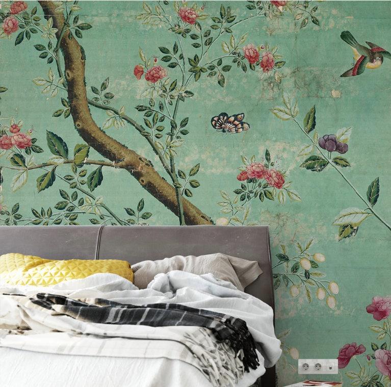 chinoiserie vert meraude papier peint autocollant vintage. Black Bedroom Furniture Sets. Home Design Ideas