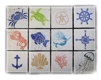 Coasters. Coaster. Nautical. Coastal. Ceramic. Handmade by Sara Hunter Designs.