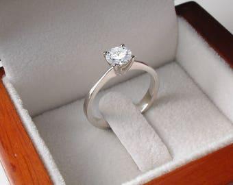 Elegant Moissanite Engagement Ring in 14K White Gold