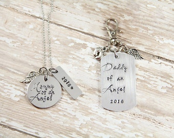 Infant Loss - Angel Baby - Memorial Jewelry - Mommy of an Angel - Daddy of an Angel - Miscarriage - Hand Stamped Necklace - Key Chain