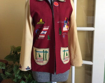 Lopez Wool Mexican Tourist Jacket 1950 Hecho in Mexico Village Scene