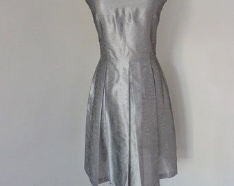 Gorgeous vintage silver dress with pleats